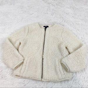 Gap girl's Large full zip sherpa jacket coat ivory